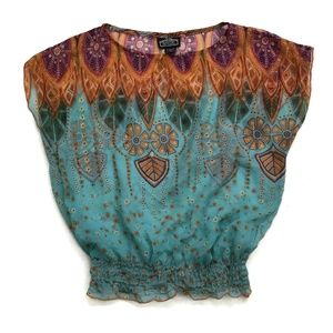 Angie Top Sleeveless Blouse Boho Festival Sheer